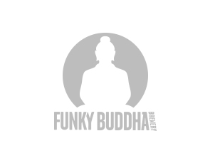 Logo for Funky Buddha Brewing which includes a ghosted out Buddha.