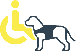 Accessibility icon of a wheelchair and service dog.